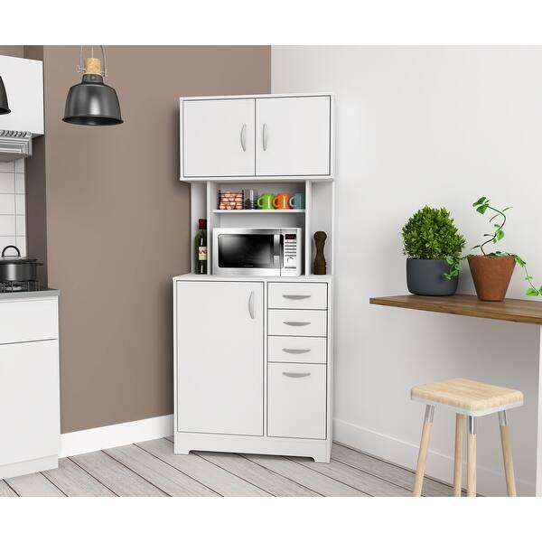 Inval Corner Microwave Storage Cabinet Overstock 32490212