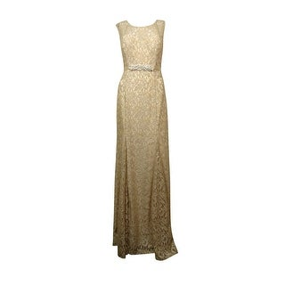 Betsy & Adam Women's Glitter Lace Sequin Belted Dress