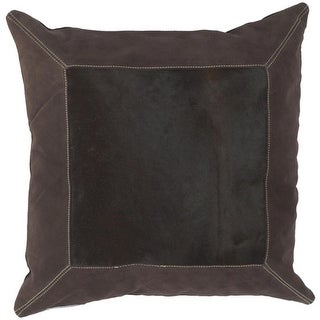 """18"""" Framed Square Chocolate Brown and Ecru Beige Decorative Down Throw Pillow"""