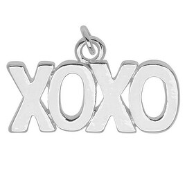 Silver Plated Lightweight Charm, Large XOXO 12.6x22x1.5mm, 1 Piece, Silver