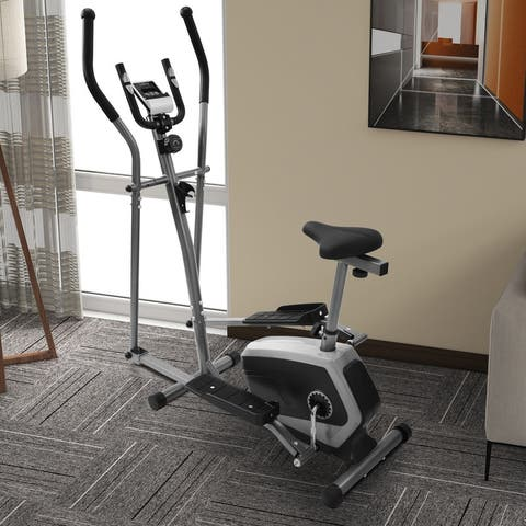 AOOLIVE Elliptical Exercise Bike with Digital LCD Display, Silver