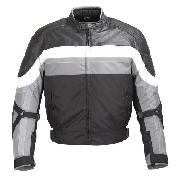 MEN BLACK GREY WHITE TEXTILE/LEATHER MOTORCYCLE JACKET REFLECTIVE STRIPES MBJ065