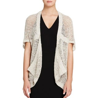 Eileen Fisher Womens Cardigan Sweater Crochet Open Stitch