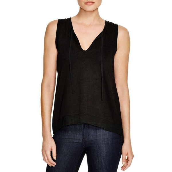 Sanctuary Womens Clara Pullover Top Key-Hole Tie Hi-Low
