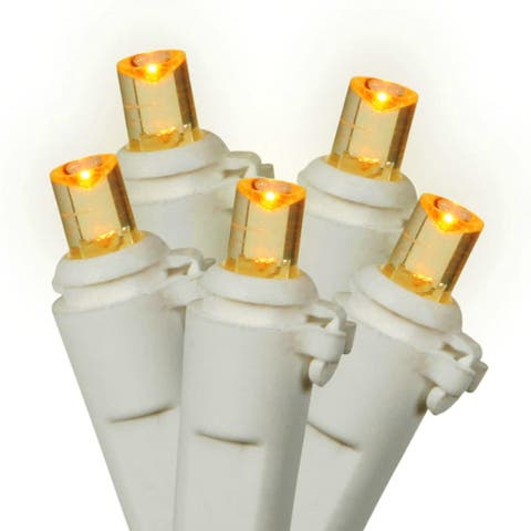 Set of 100 LED Amber Wide Angle Christmas Lights - White Wire