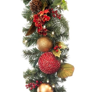 Link to Village Lighting 9 ft. Pre-Lit LED Garland - Scarlet Hydrangea - Red Similar Items in Christmas Decorations