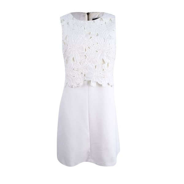 Vince Camuto Womens Lace Popover Shift Dress Ivory