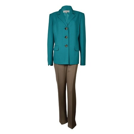Evan Picone Women's Classic Time Three Button Pant Suit - turquoise/sand