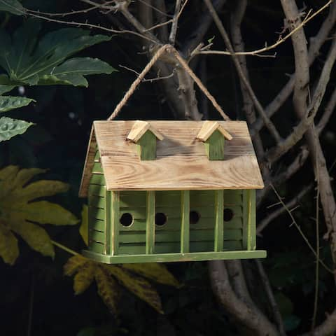 "Glitzhome 14.25""L Wood Distressed Green Garden Birdhouse"