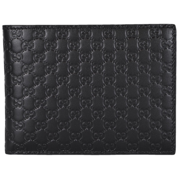 0d2bb801311 Gucci 217044 Men  x27 s Black Leather Micro GG Guccissima Trifold Wallet