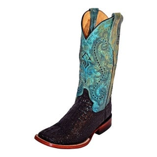 Ferrini Western Boots Womens Caiman Print Metallic Black Teal 90393-50