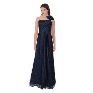 Rene Ruiz Metallic Blue Layered Tulle Bow Strapless Formal Eve Gown Dress