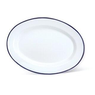 "Crow Canyon V94BLU Vintage Oval Plate, 12"" D, Blue Rim"