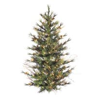2' Pre-Lit Mixed Country Pine Artificial Wall or Door Christmas Tree - Clear - green