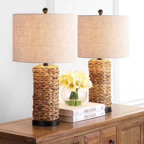 """Elicia 25"""" Sea Grass LED Table Lamp, Natural (Set of 2) by JONATHAN Y"""