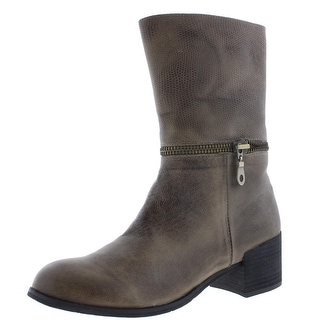Antelope Womens Mid-Calf Boots Leather Stacked Heel
