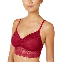 Tommy Hilfiger Womens Red Plum Heritage Lace Longline Bralette