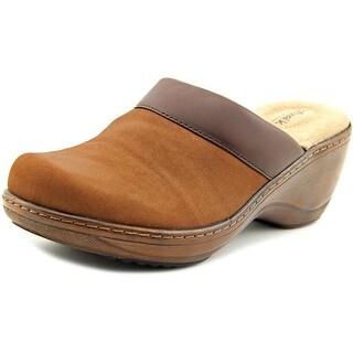 Softwalk Murietta Women Round Toe Leather Tan Clogs