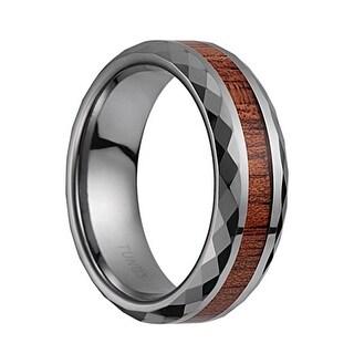Tungsten Carbide Wedding Band With Koa Wood Inlay & Diamond Cut Polished Edges - 7mm