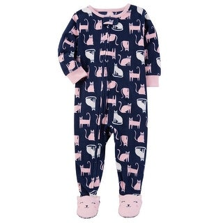 Carter's Baby Girls' 1 Piece Cat Fleece Pajamas, 12 Months