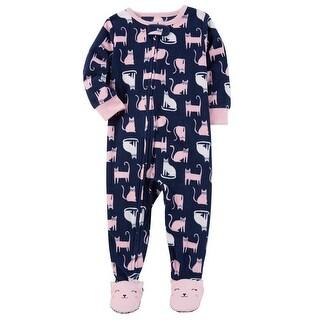 Carter's Baby Girls' 1 Piece Cat Fleece Pajamas, 6 Months