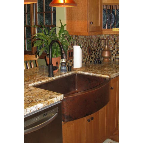 Premier Copper Products KSP2_KASRDB33249 Kitchen Sink, Pull Down Faucet and Accessories Package