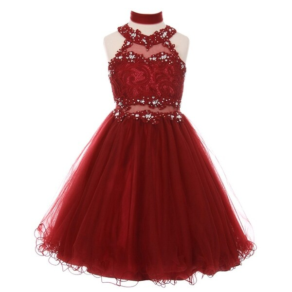 698a2f08e2 Shop Girls Burgundy Rhinestone Halter Neck Lace Junior Bridesmaid Dress -  Free Shipping Today - Overstock - 18174707