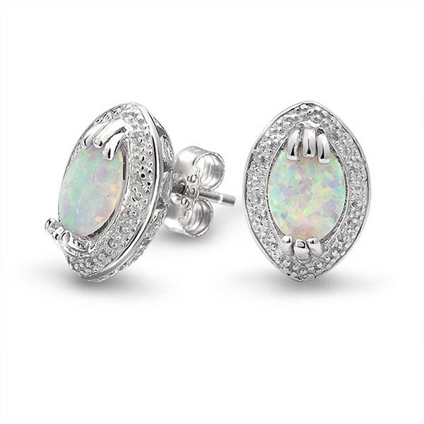 Bling Jewelry Victorian Style Imitation White Opal October Birthstone Stud Earrings 925 Sterling Silver 14mm