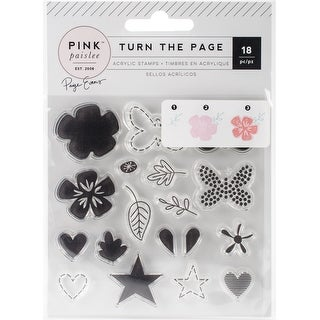 Pink Paislee Layerable Stamp Set 18Pcs-Page Evans Turn The Page