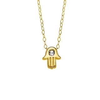 Crystaluxe Teeny-Tiny Hamsa Pendant with Swarovski Crystal in 10K Gold