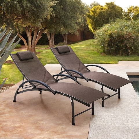 Outdoor Aluminum Adjustable Reclining Chaise Lounge Chairs (Set of 2) - 65.35 L x 26.97 W x 32.48 H inches
