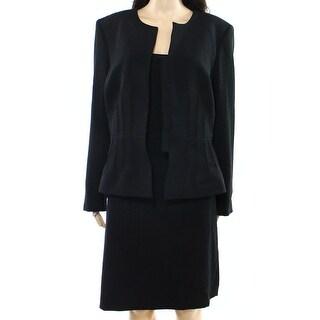 Tahari ny ASL NEW Deep Black Womens Size 14 Pintucked Skirt Suit