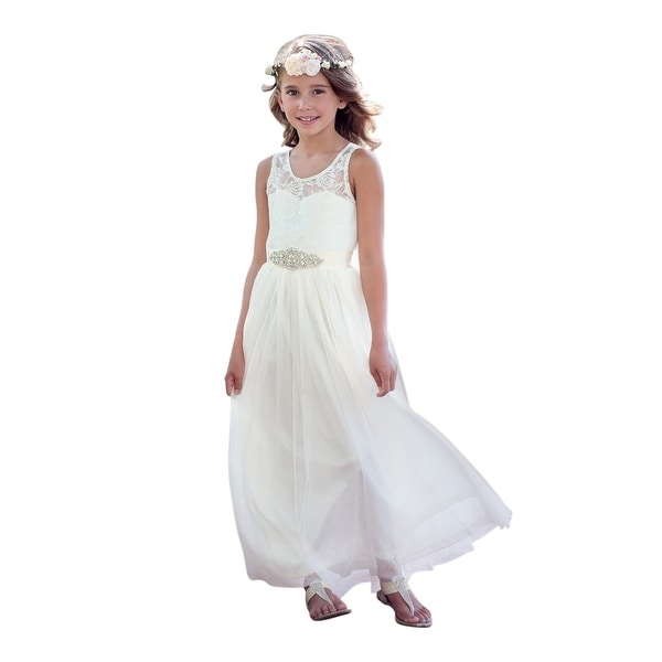 Think Pink Bows Baby Girls Ivory Floral Lace Vienna Flower Girl Dress 12-18M
