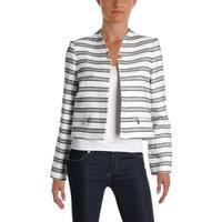 Calvin Klein Womens Petites Crop Blazer Textured Striped