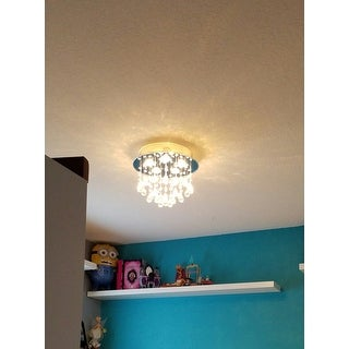 Floating Bubble Chrome and White 5-light Crystal Chandelier