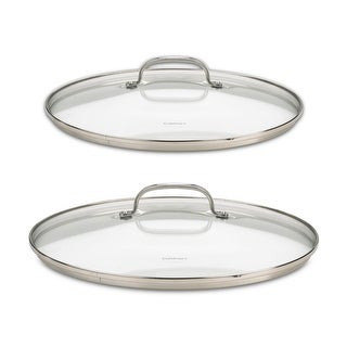 """Cuisinart 71-2228CG Chef's Classic Stainless 2-Piece Glass Lid Set, 9"""" & 11"""" Glass covers"""