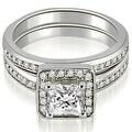 1.25 cttw. 14K White Gold Halo Princess and Round Cut Diamond Matching Set - Thumbnail 0