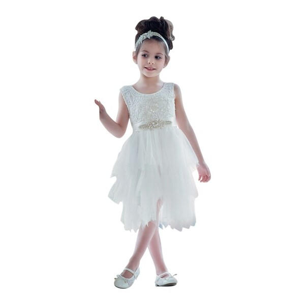 Think Pink Bows Baby Girls Off-White Cascade Claire Flower Girl Dress 1Y