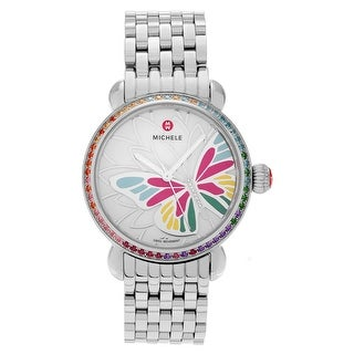 Michele Women's 'Garden Party' MWW05D000020 Topaz Diamond Accent Butterfly Link Watch - Silver