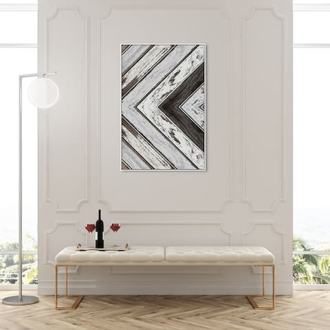 Oliver Gal 'Muted Wood' Abstract Wall Art Framed Canvas Print Paint - White, Brown