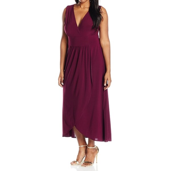 1308ee2ab Shop Star Vixen Plum Purple Women's Size 2X Plus Surplice Maxi Dress - On  Sale - Free Shipping On Orders Over $45 - Overstock - 28095455