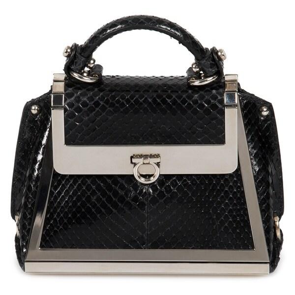 1b4d0daab8 Shop Salvatore Ferragamo Mini Sofia Handbag In Black Python Leather ...