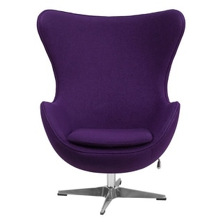 Offex Purple Wool Fabric Egg Chair with Tilt-Lock Mechanism