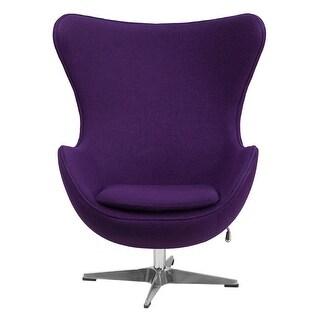 Offex Purple Wool Fabric Egg Chair with Tilt-Lock Mechanism