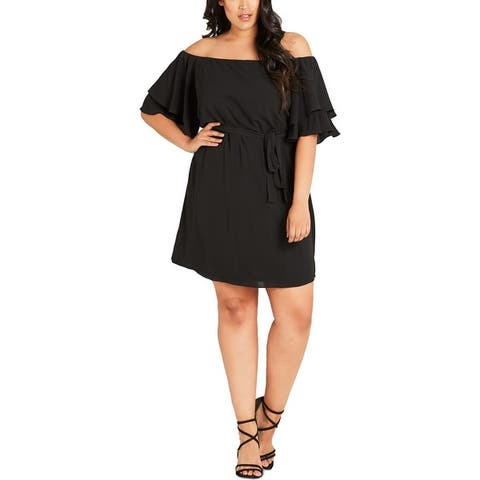 City Chic Womens Plus Julliet Tunic Dress Off-The-Shoulder Knee-Length