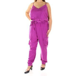 RALPH LAUREN $175 Womens New 1134 Purple Pocketed Tie Jumpsuit 16 B+B