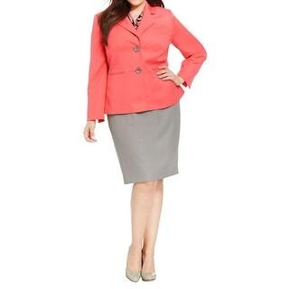 Le Suit Womens Plus City Blooms Skirt Suit Two Tone 2PC