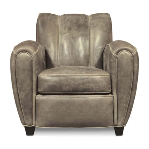 Manon Top Grain Leather Armchair with Distressed Finish, Vintage