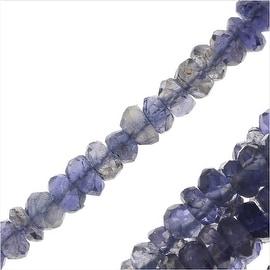 Iolite Gemstone Bead Strands, Facected Rondelles 2.5x3mm, 1 Strand, Blue