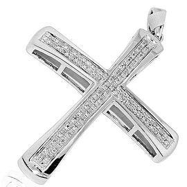 45mm Tall Diamond Cross Mens 0.12cttw Pave Diamonds By MidwestJewellery - White